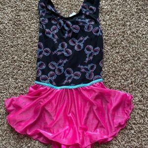 Dance gymnastics black pink tutu leotard dress